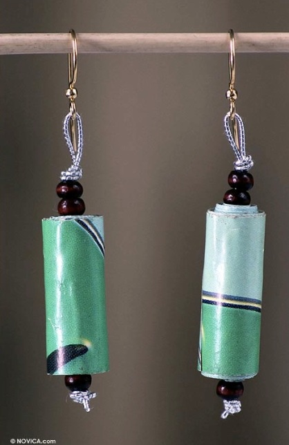'Fresh Morning' Recycled Paper Dangle Earrings