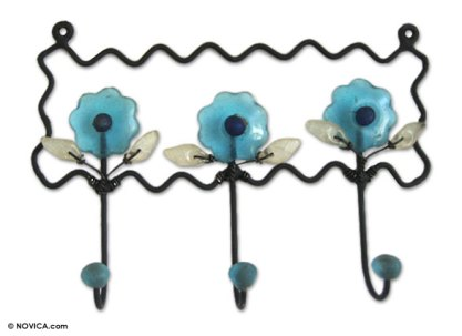 Iron and recycled glass coat rack, 'Bloom in Blue'