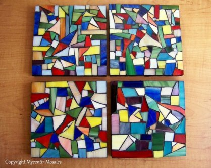 Picasso Inspired Stained Glass Coasters
