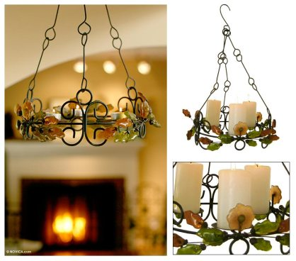 Recycled glass chandelier, 'A Fine Light'