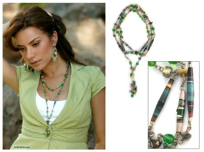 Serpentine long eco-necklace, 'Story of Hope'