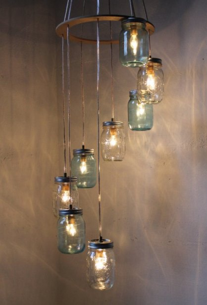Waterfall Splash Mason Jar Chandelier